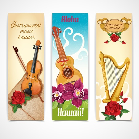 jazz time: Musical instruments vertical decorative banners set with harp guitar and violin fiddle flowers isolated abstract illustration