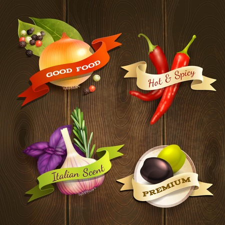 chili: Realistic herbs and spices food decorative kitchen ribbon badges set on wooden background illustration