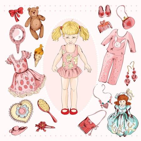 Klein meisje papieren pop album project accessoires set afdrukken met kind karakter jurk pyjama schetsillustratie