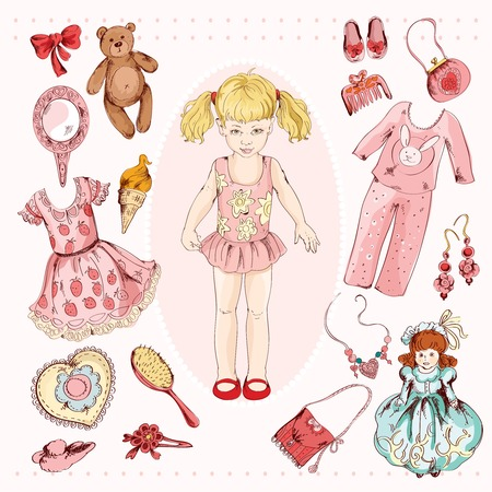 Little girl paper doll album project accessories set print with child character dress pajama sketch illustration Illustration