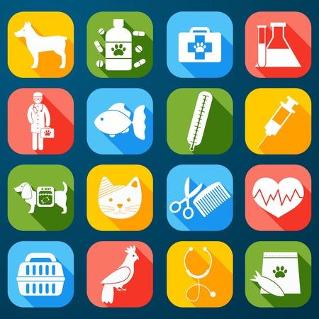 Veterinaire gezelschapsdieren en gezondheidszorg pictogrammen instellen flat geïsoleerde illustratie