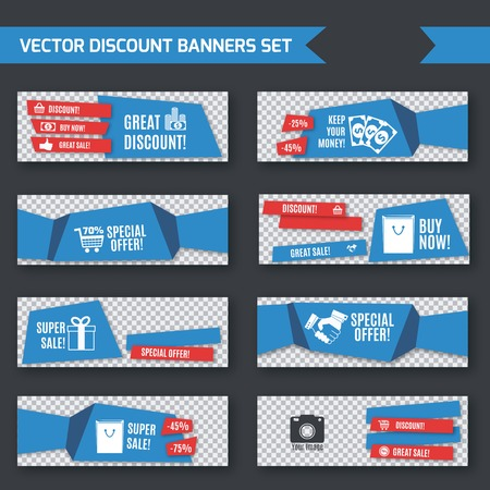 Discount promotion advertising blue origami paper banners set isolated illustration Vector