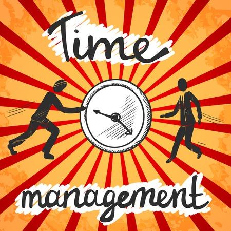 gestion del tiempo: Boceto del cartel La gestión del tiempo con la gente de negocios y reloj ilustración Vectores