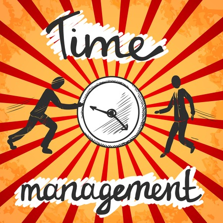 cover background time: Time management poster sketch with business people and clock illustration