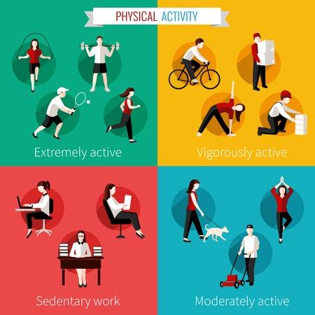 Fysisk aktivitet platt uppsättning extremt kraftigt måttligt aktiv och stillasittande arbete illustration