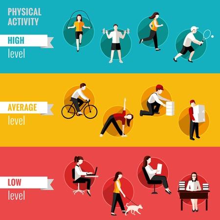 sedentario: Altas banners horizontales de nivel de actividad f�sica media y baja conjunto aislado ilustraci�n