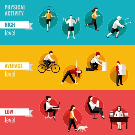 High average and low physical activity level horizontal banners set isolated illustration