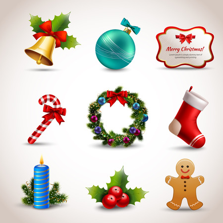 with sets of elements: Christmas new year holiday decoration realistic icons set isolated illustration