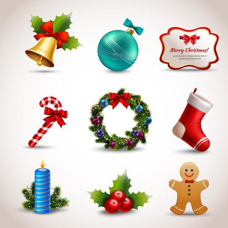 Realistische pictogrammen van de de vakantiedecoratie van het Kerstmis de nieuwe jaar geplaatst geïsoleerde illustratie Stockfoto - 32932144