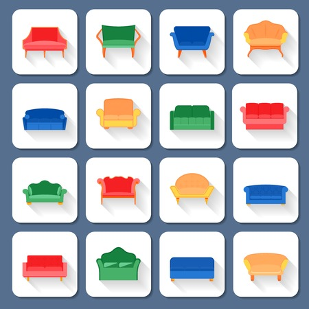 couches: Sofa couches modern and vintage furniture icons set isolated illustration