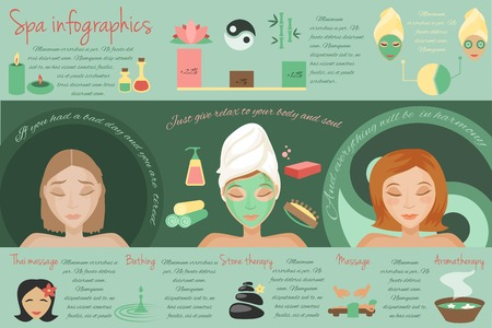 Spa salon thai massage bathing stone therapy isolated illustration
