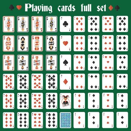 Casino poker hazard playing cards full set isolated illustration