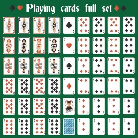 Casino poker hazard playing cards full set isolated illustration