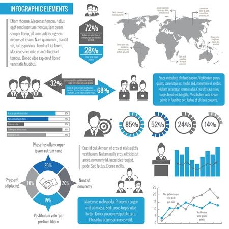 global networking: Reuni�n de negocios trabajo en equipo en red global de gesti�n eficaz elementos infogr�ficos ilustraci�n