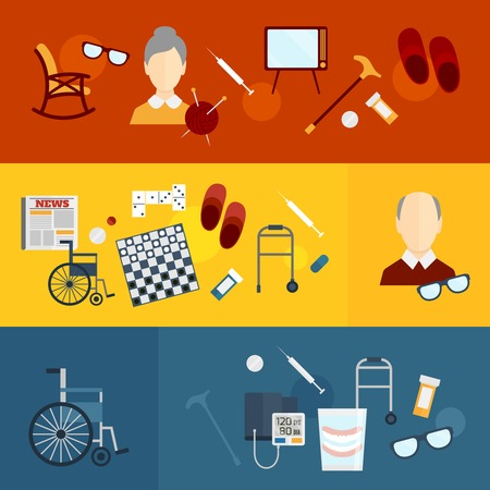 Pensioners life elderly care flat banners set isolated illustration Illustration