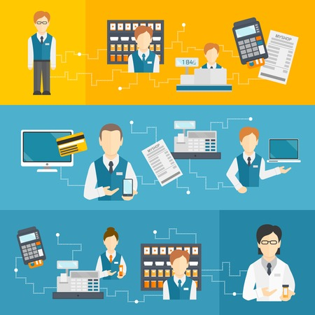 Salesman shop assistant flat banners set isolated illustration Vector