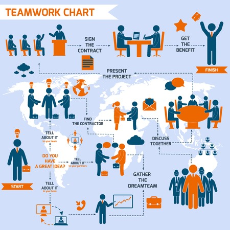 Teamwork infographic set with business process pictograms and world map illustration