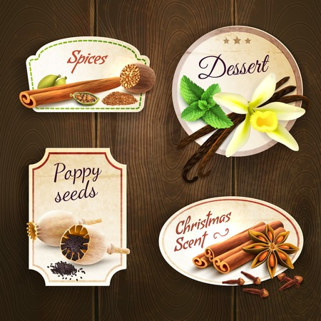 allspice: Dessert spices poppy seed christmas scent decorative elements badges set isolated on wooden background illustration Illustration