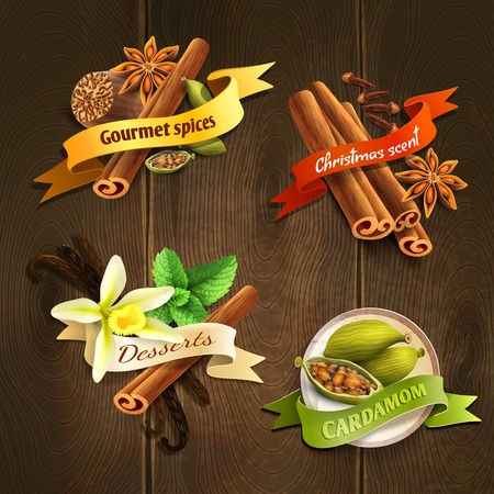 christmas scent: Dessert gourmet spices cardamom christmas scent ribbon badges set isolated on wooden background illustration