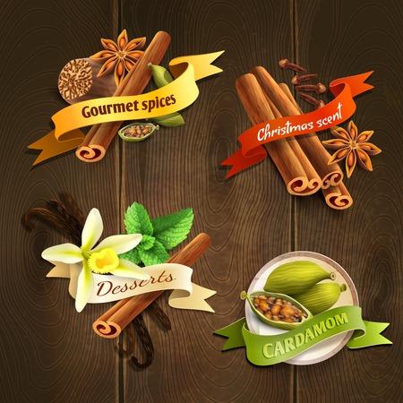 christmas scent: Postre especias gourmet cardamomo insignias cinta olor navidad conjunto aislado en madera de fondo ilustraci�n