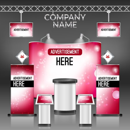 exhibition display: Exhibition promotion display stand pink design layout template illustration