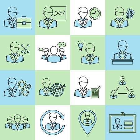 Effective management modern company business symbols icons flat line set isolated illustration Vector