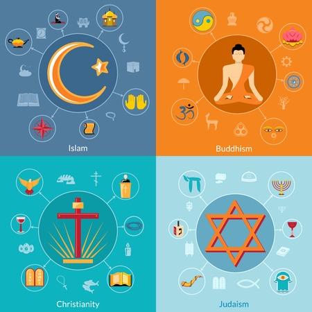 Religions icon flat set of islam buddhism christianity judaism symbols isolated illustration