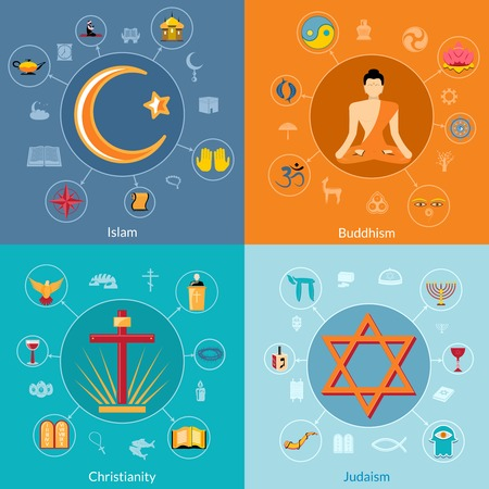 Religions icon flat set of islam buddhism christianity judaism symbols isolated illustration