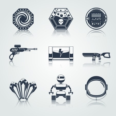 game gun: Space computer game play menu buttons black icons set isolated illustration