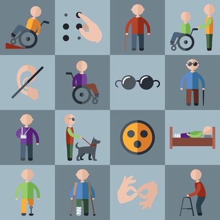 discapacidad: Las personas con discapacidad se preocupan iconos de asistencia y de accesibilidad establecidos, ilustración, Vectores