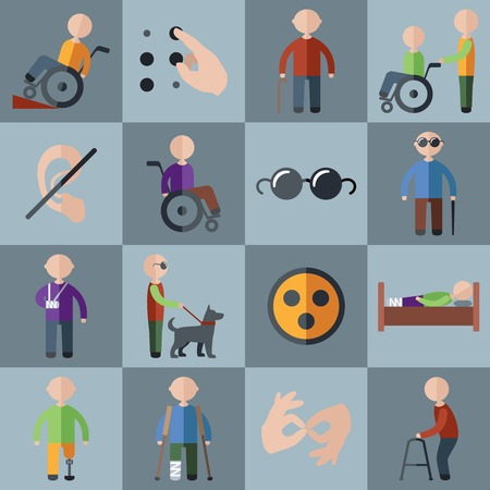 Disabled people care assistance and accessibility icons set isolated illustration Vettoriali