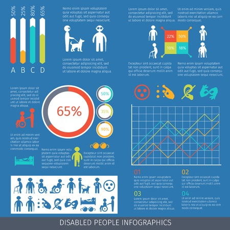 disability: Disabled people infographic set with charts and disability symbols illustration