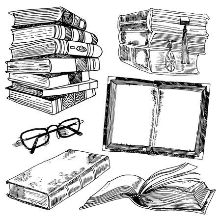 Boek en glazen bibliotheekcollectie zwarte schets decoratieve pictogrammen instellen geïsoleerde illustratie