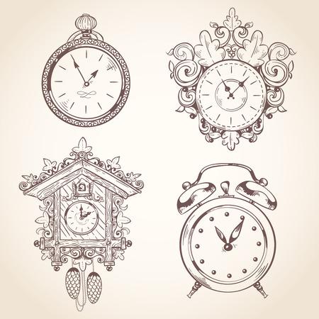 antique clock: Old vintage clock and stopwatch sketch set isolated illustration Illustration