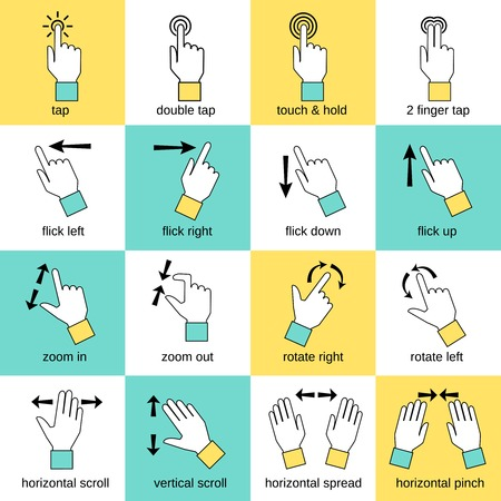 touch down: Touch pad hand gestures icons flat line set isolated illustration