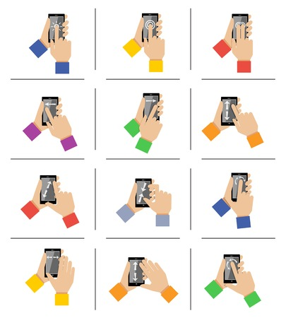 Hand holding mobile smartphone gestures icons set isolated illustration Vector