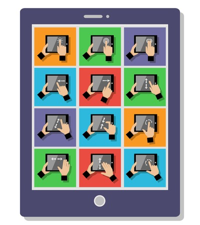 tablet pc in hand: Hand holding device gestures icons set on tablet pc illustration Illustration
