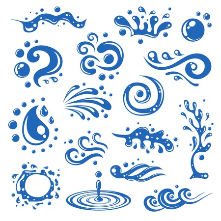 Blue water splashes waves drops blots decorative icons isolated illustration
