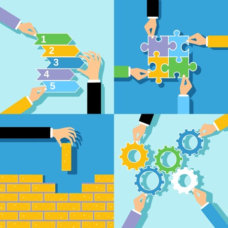team building: Human hands building wall puzzle solving gear teamwork making business concepts set isolated illustration