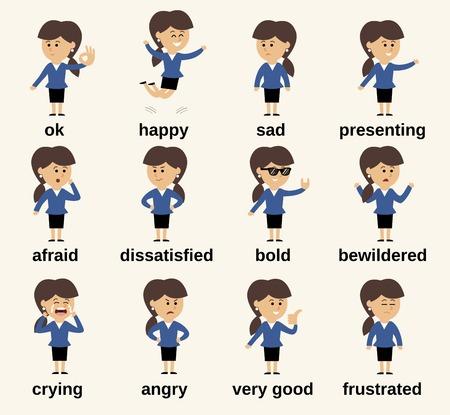 human character: Business donna personaggio dei cartoni animati emozioni felice e triste insieme isolato illustrazione