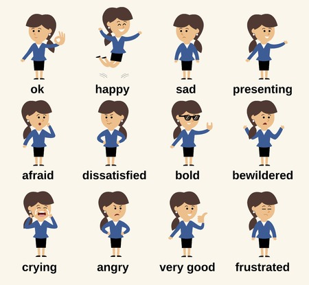 young people fun: Business woman cartoon character happy and sad emotions set isolated illustration
