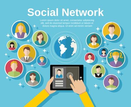 vida social: Concepto social de la red de medios de comunicación con la mano humana con los avatares de la tableta y el mundo en la ilustración de fondo