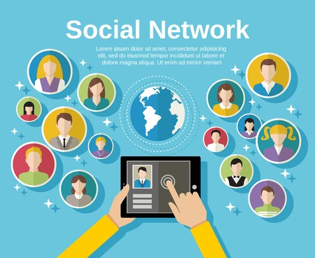 network: Social media network concept with human hand with tablet avatars and globe on background illustration
