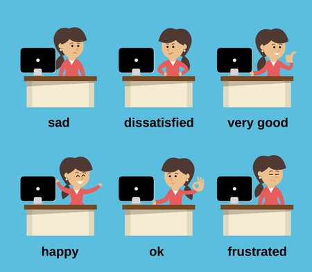computer mascot: Businesswoman at office desk cartoon character working emotions set isolated illustration