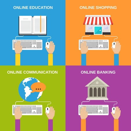 Online service concepts flat icons set of education shopping communication banking isolated illustration Vector
