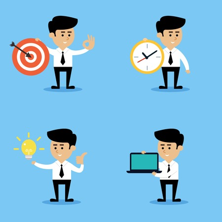 thumbs up business: Businessman with target clock light bulb computer emotional gestures and poses business concepts set isolated illustration