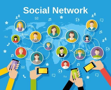 vida social: Concepto de red de medios de comunicaci�n social con manos de hombre con avatares smartphones y mapa del mundo en el fondo ilustraci�n