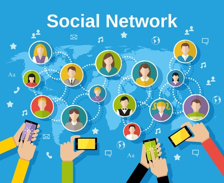 Social media network concept with human hands with smartphones avatars and world map on background illustration