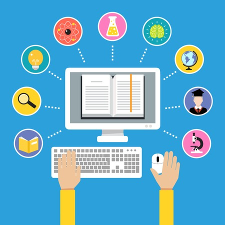 Online education e-learning science concept with human hand and computer book illustration