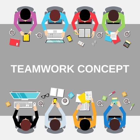 상단: 긴 테이블 그림에 비즈니스 팀 팀워크 개념 평면도 사무실 사람들이 그룹